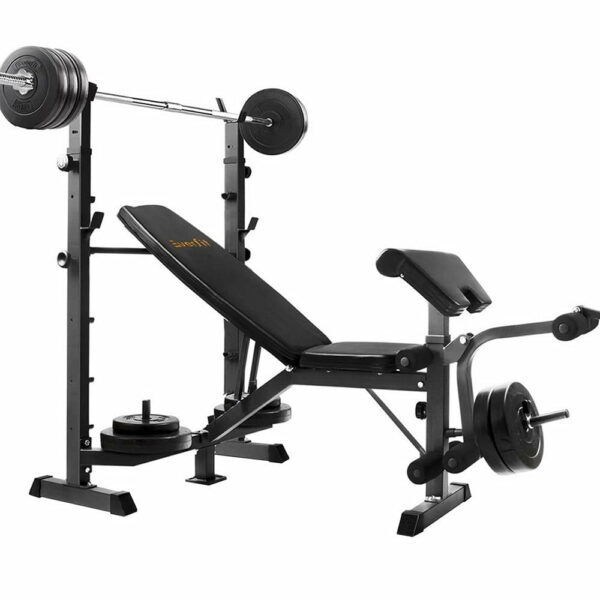 Everfit Multi-Station Weight Bench Press Fitness 58KG Barbell Set Incline – Black