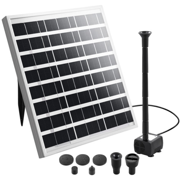 Solar Pond Pump Powered Outdoor Garden Water Pool Kit Large Panel 8.2 FT