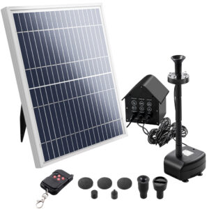 Solar Pond Pump with Battery Powered Submersible Kit LED Light & Remote 8.8 FT