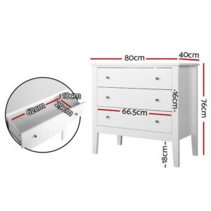 Artiss Chest of Drawers Storage Cabinet Bedside Table Dresser Tallboy White