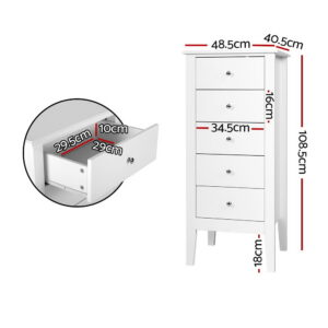 Artiss 5 Tallboy Chest of Drawers Storage Cabinet Bedside Table Dresser White